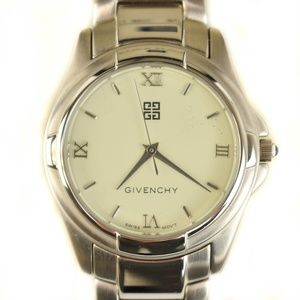 GIVENCHY: Silver, Metal, Logo Quartz Watch (mn)